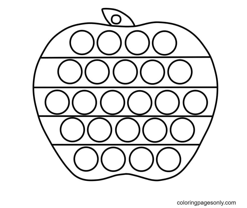 Apple Pop It Coloring Page