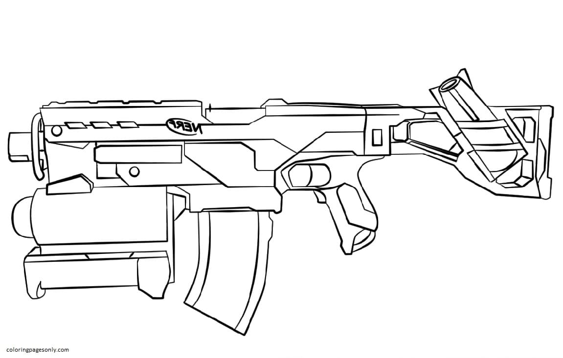 Automatic machine Nerf Coloring Page