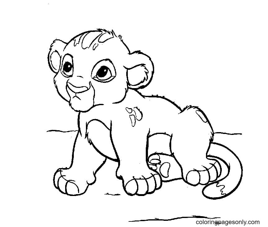 Baby Simba Lion Coloring Page
