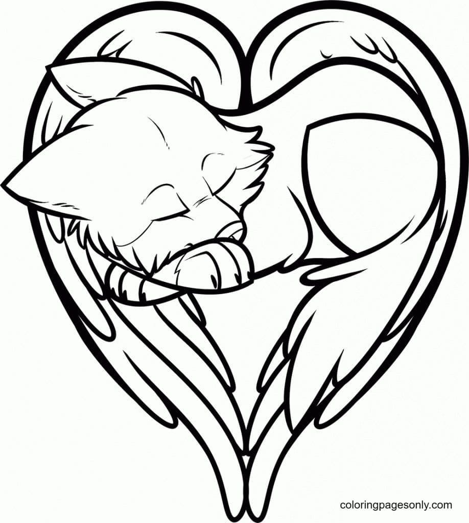 Baby Wolf With Wings Angel Coloring Page