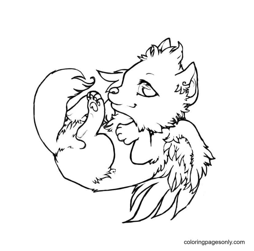 Baby Wolf With Wings Coloring Page
