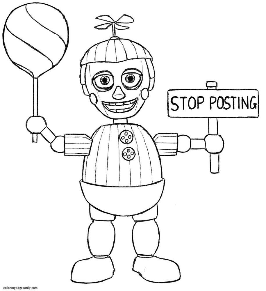 Balloon Boy Phantom Five Nights At Freddys Coloring Page