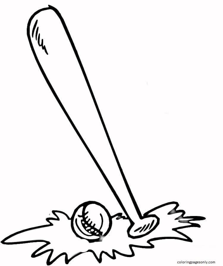 Baseball Bat and Ball Coloring Page