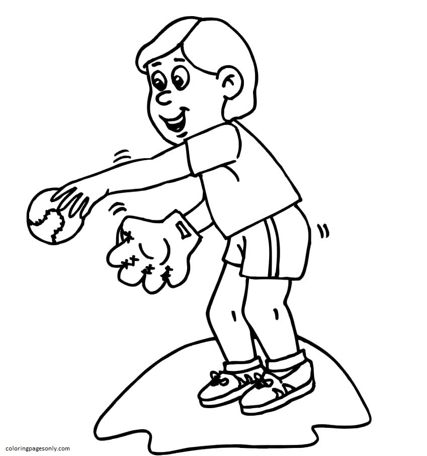 Baseball Pitcher The Stare Down Coloring Page
