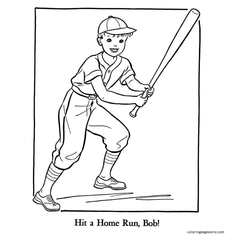 Baseball Player 1 Coloring Page