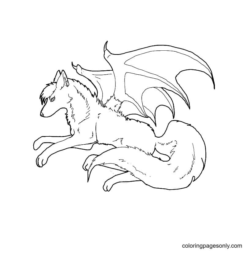 Bat Winged Wolf Coloring Page
