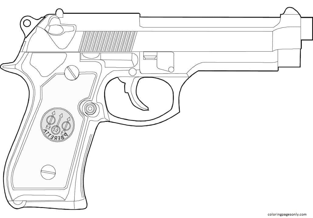 Beretta Handgun Coloring Page