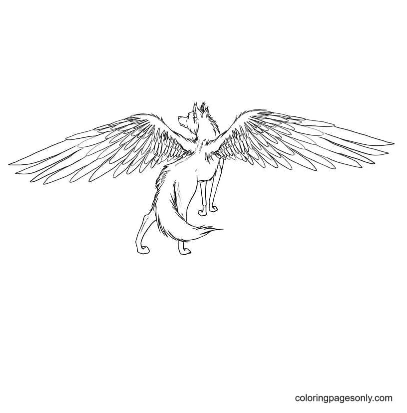 Bird-Winged Wolf Coloring Page