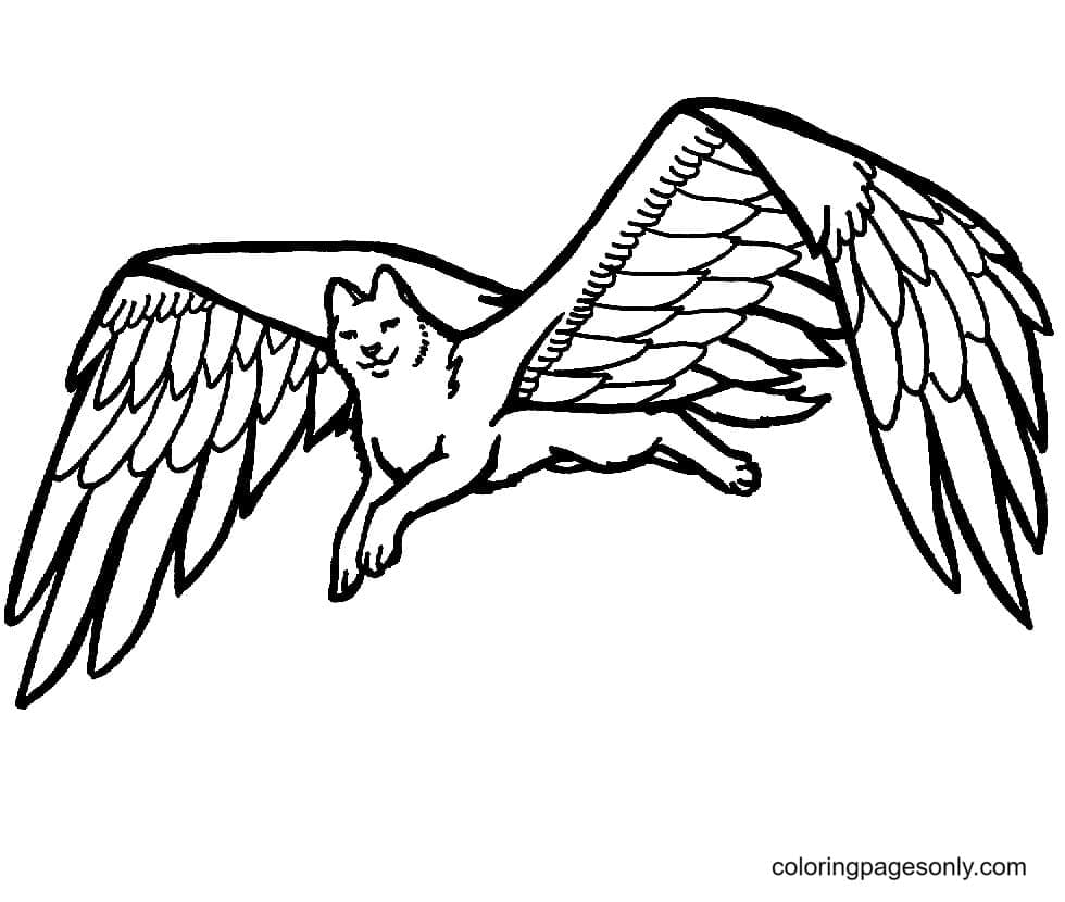 Bird-Wolf With Wings Coloring Page