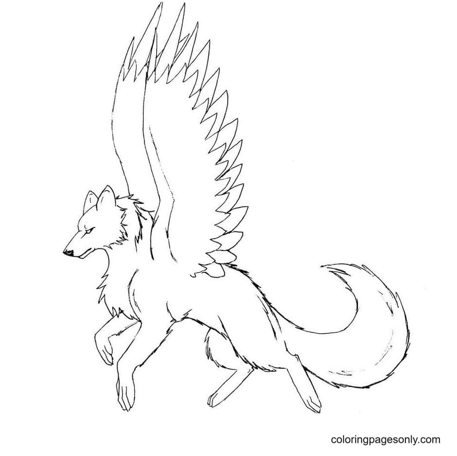 Bird-winged wolves Coloring Page
