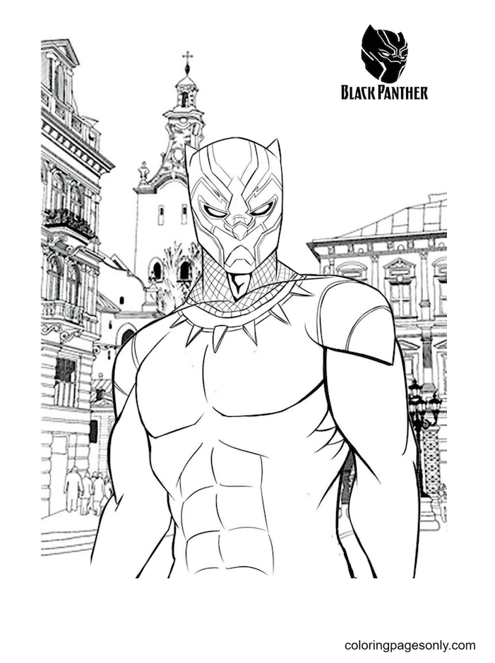 Black Panther Free Coloring Page