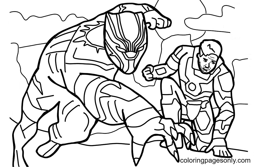 Black Panther and Iron Man Coloring Page