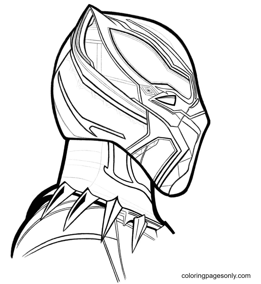 Black Panther's Awesome Mask Coloring Page