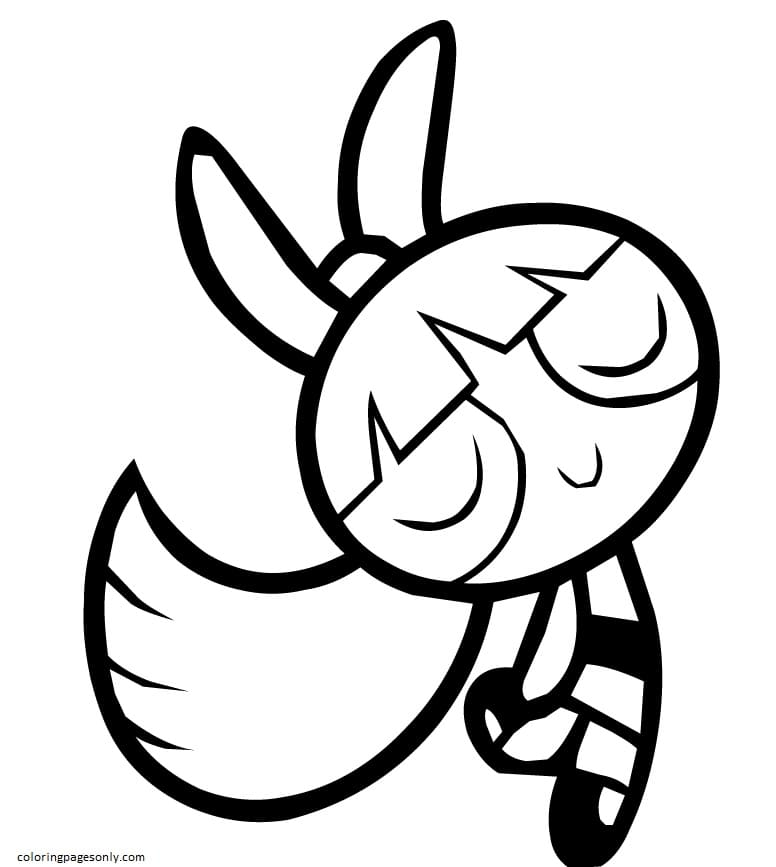 Blossom From Powerpuff Girls Cartoon Coloring Page