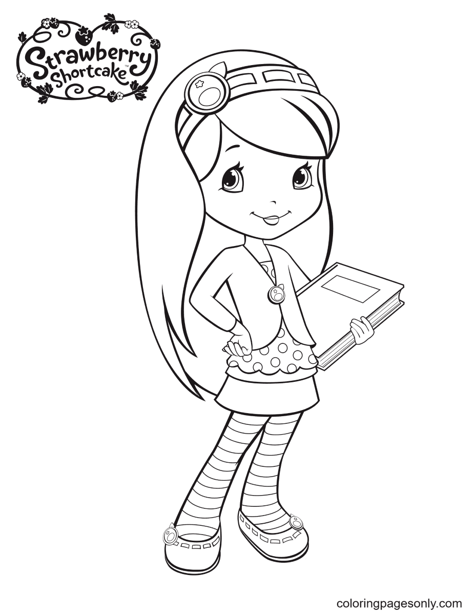 Blueberry Muffin holding on notebook Coloring Page