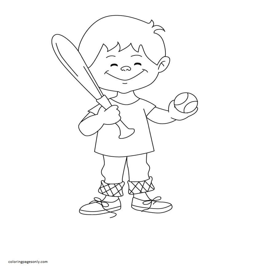 Boy baseball play 1 Coloring Page