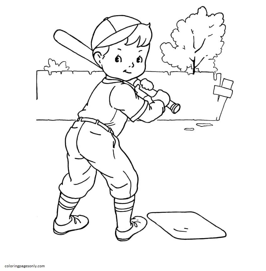Boy baseball play Coloring Page