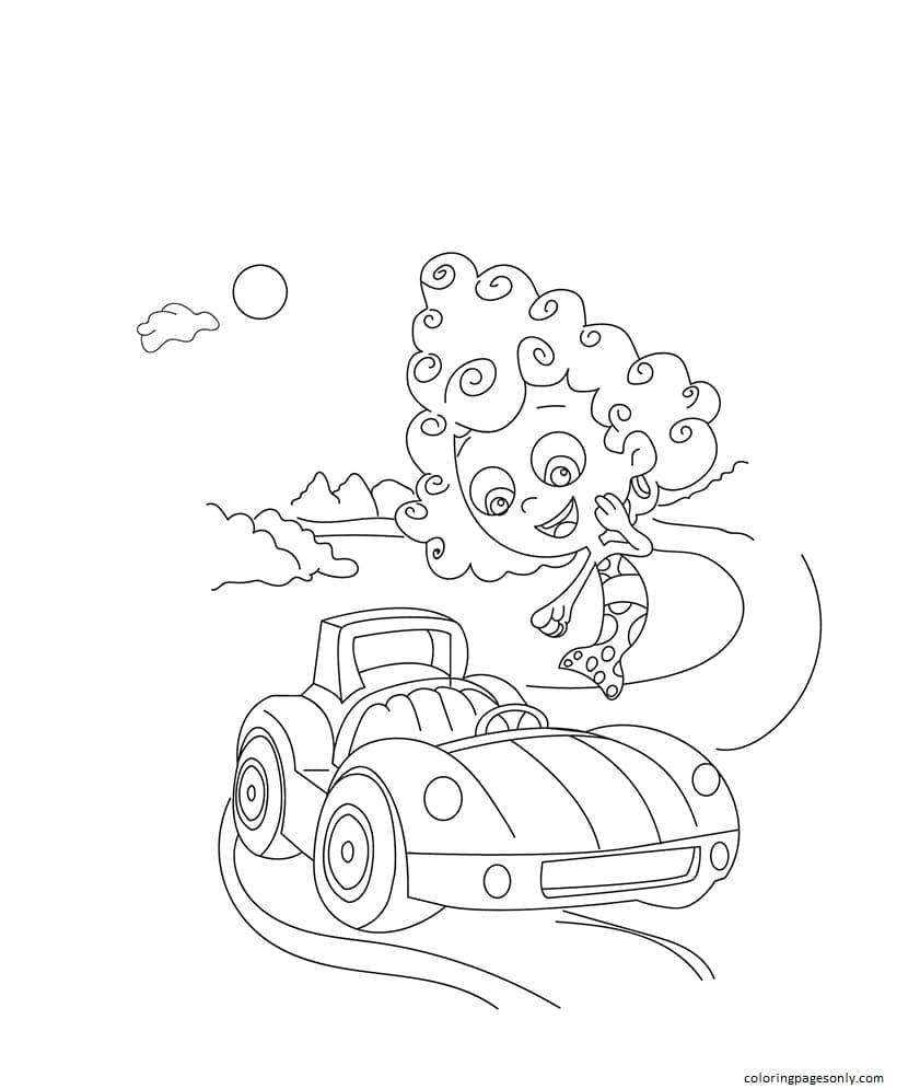 Bubble Guppies-Car Coloring Page