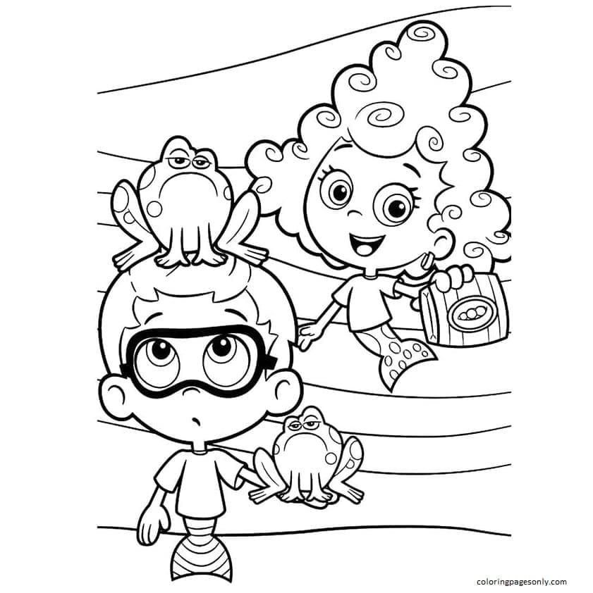 Bubble Guppies Frog Coloring Page