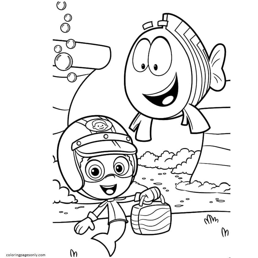 Bubble Guppies Gil and Fish Coloring Page