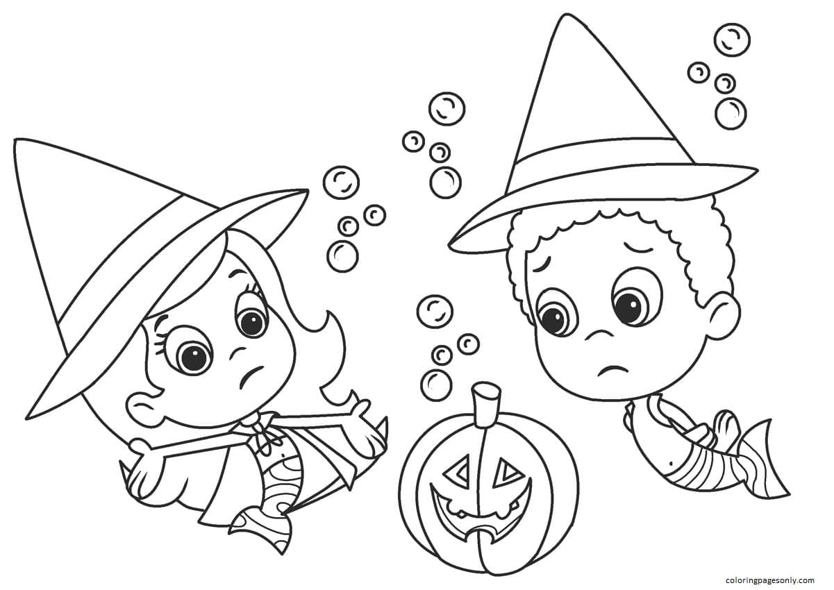 Bubble Guppies Halloween Coloring Page