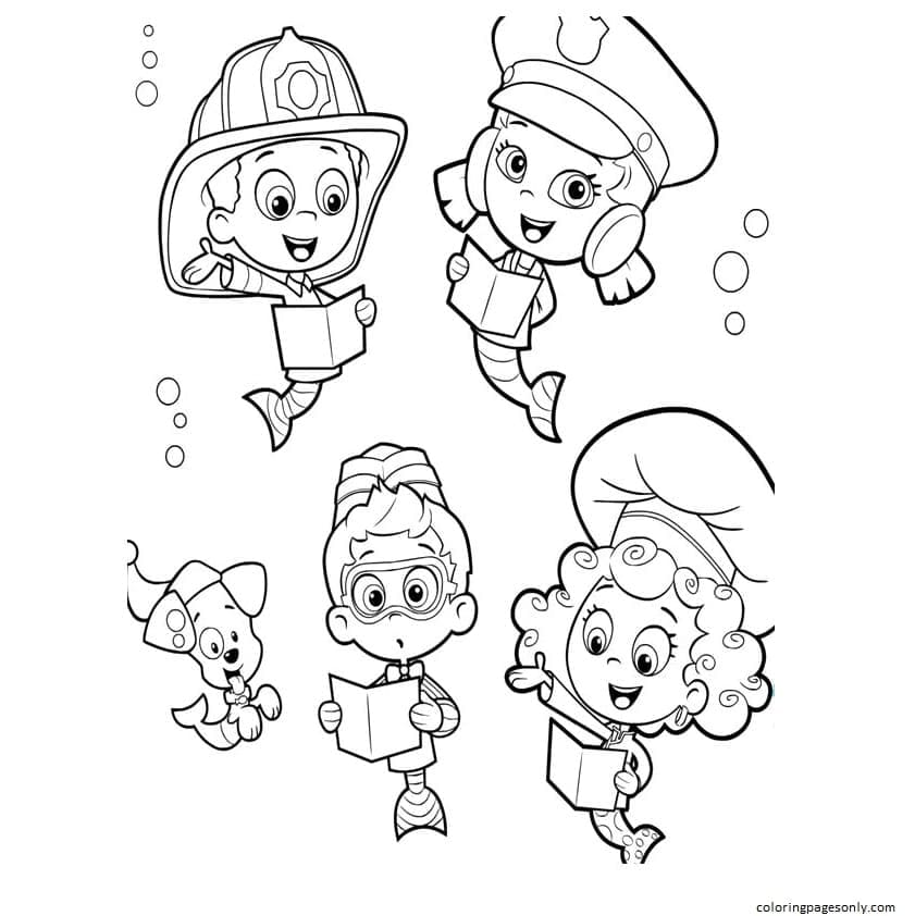 Bubble Guppies Study Coloring Page