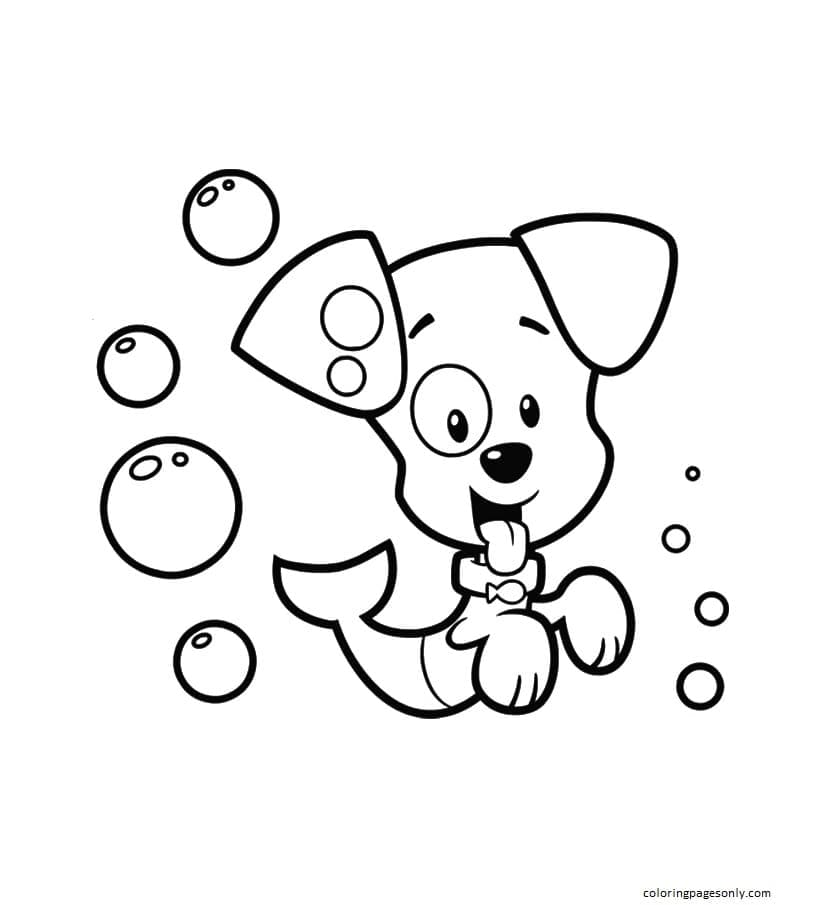 Bubble Puppy with a Fish Tail Coloring Page