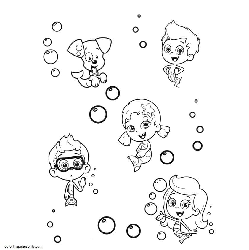 Bubulle Guppies with Puppy Coloring Page
