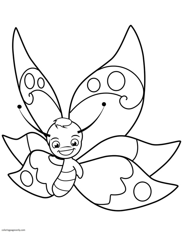 Butterfly Boy Smiling Coloring Page
