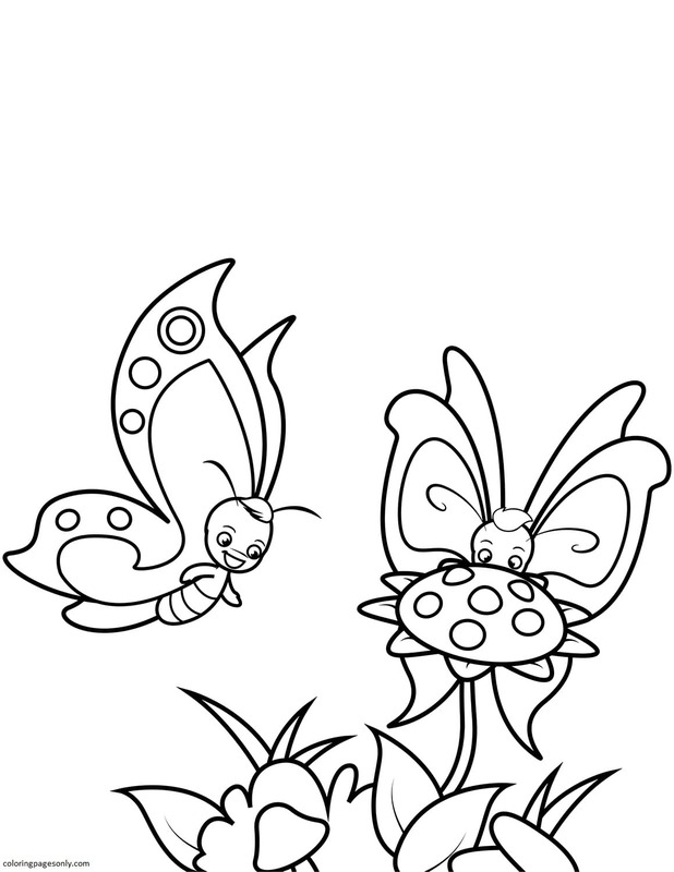 Butterfly Boys and Sunflower Coloring Page