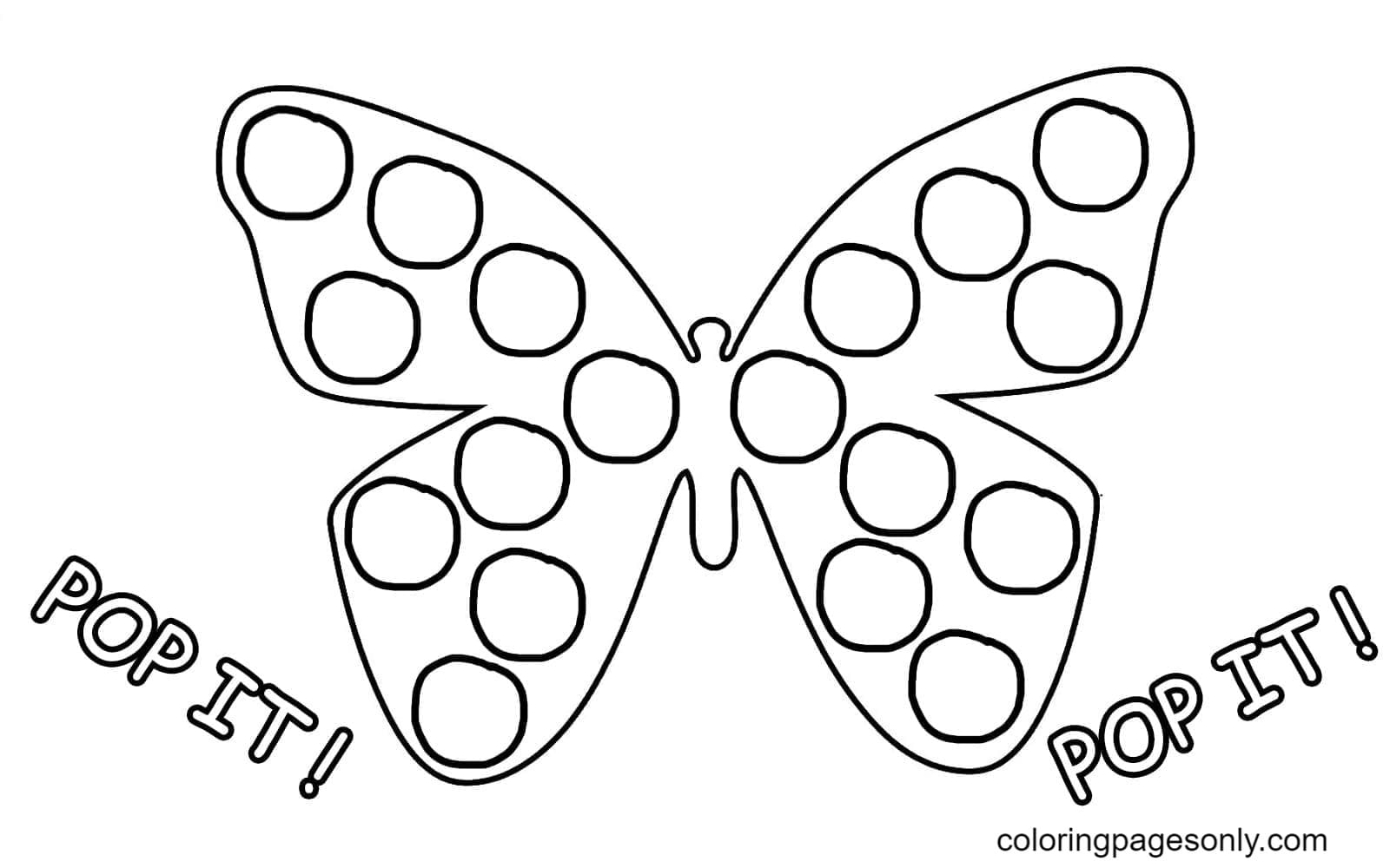 Butterfly Pop It Coloring Page