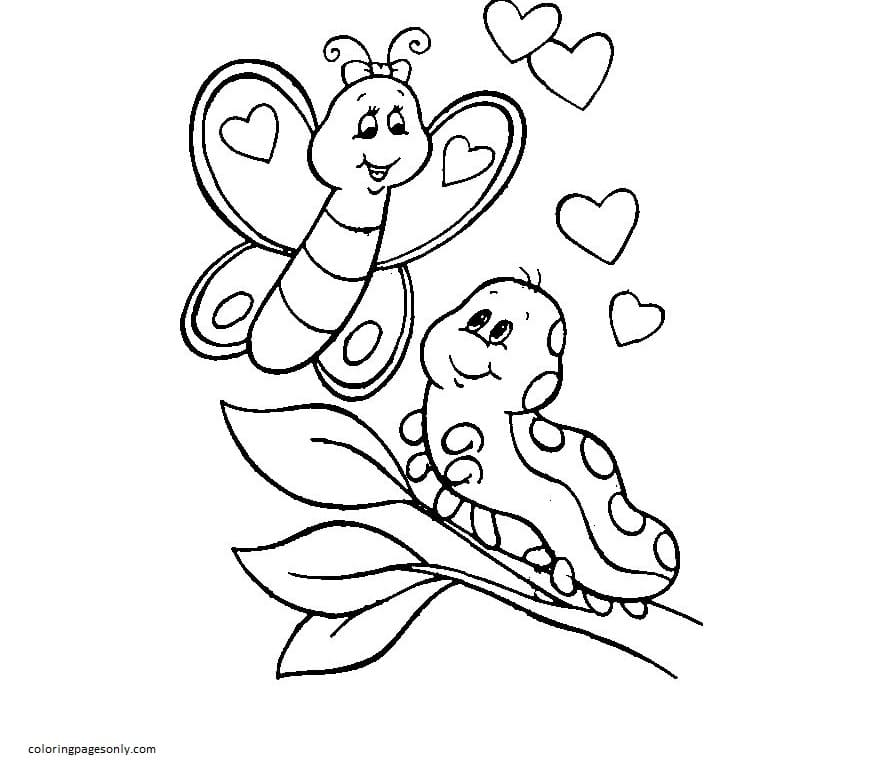 Butterfly and Catepillar Coloring Page