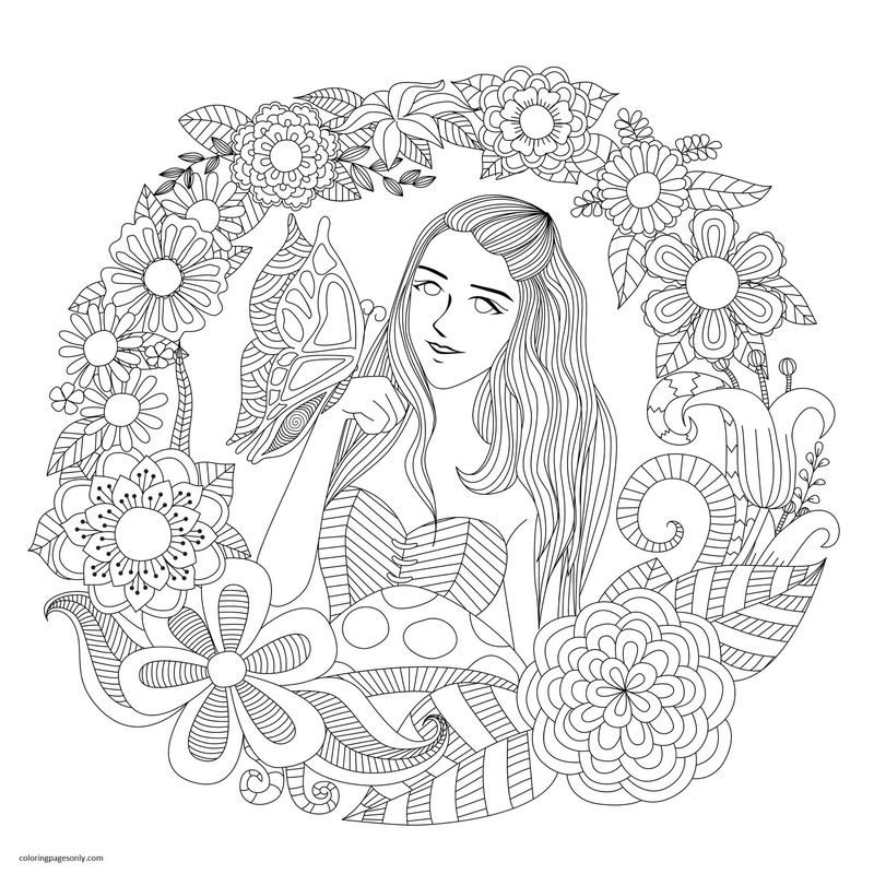 Butterfly and Girl Coloring Page