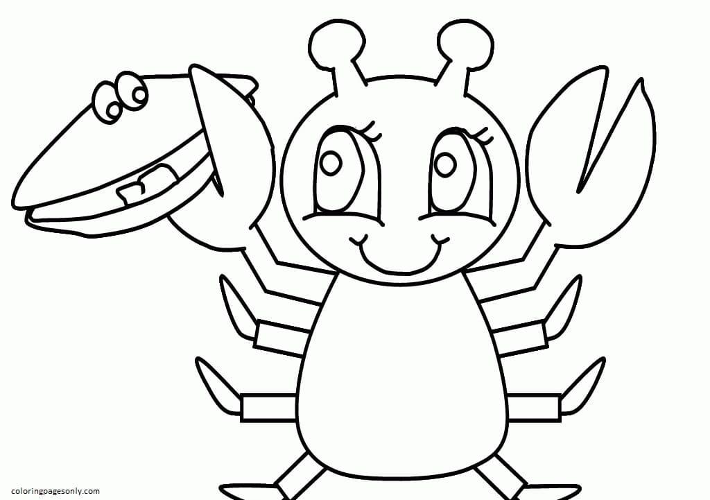 Cartoon Crab 4 Coloring Page