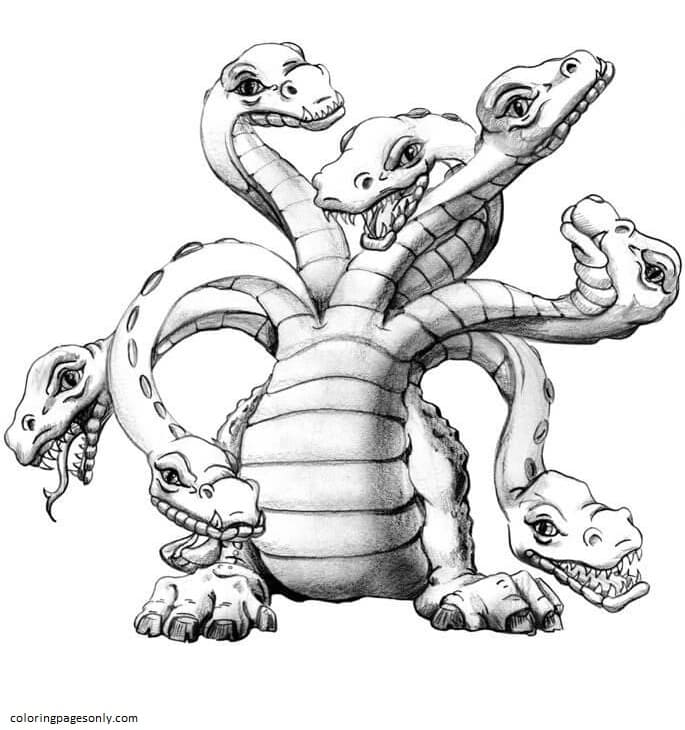 Cartoon Hydra Coloring Page