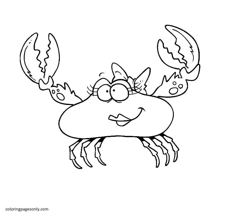 Cartoon Of Beautiful Female Crab Coloring Page