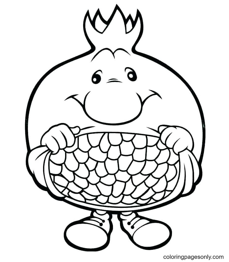 Cartoon Pomegranate Coloring Page