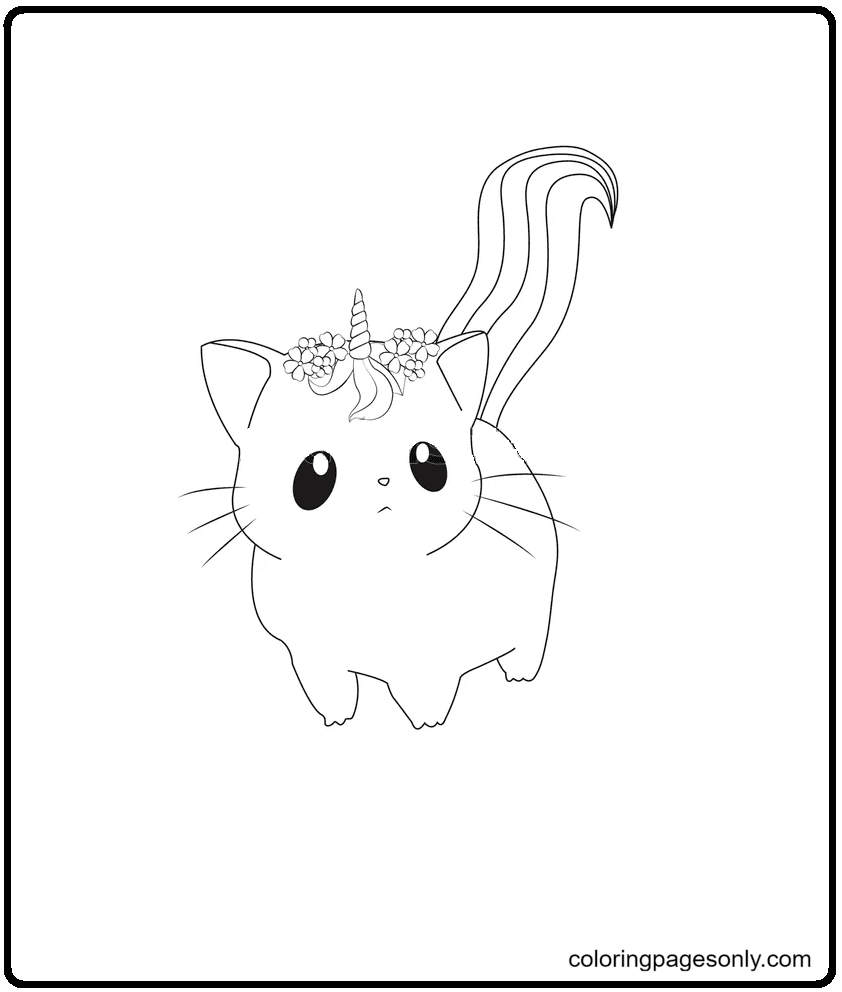 Cat Unicorn Cartoon Coloring Page