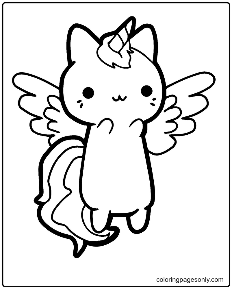 Cat Unicorn Printable Coloring Page