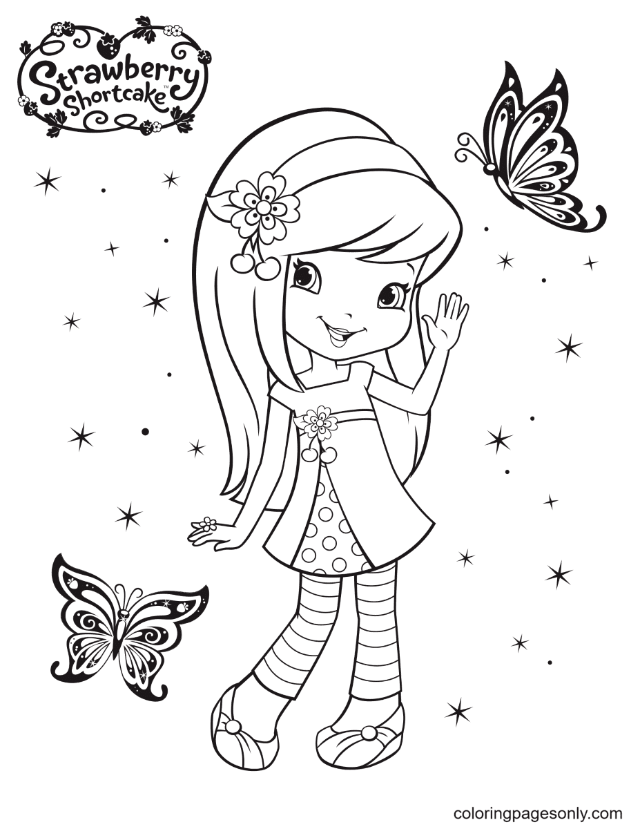 Cherry Jam and Butterfly Coloring Page