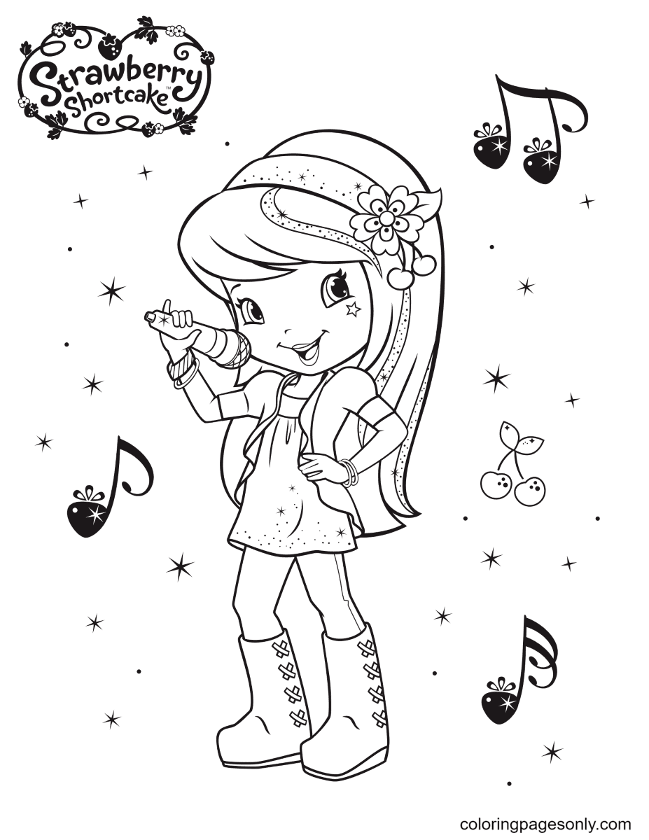 Cherry Jam is singing Coloring Page