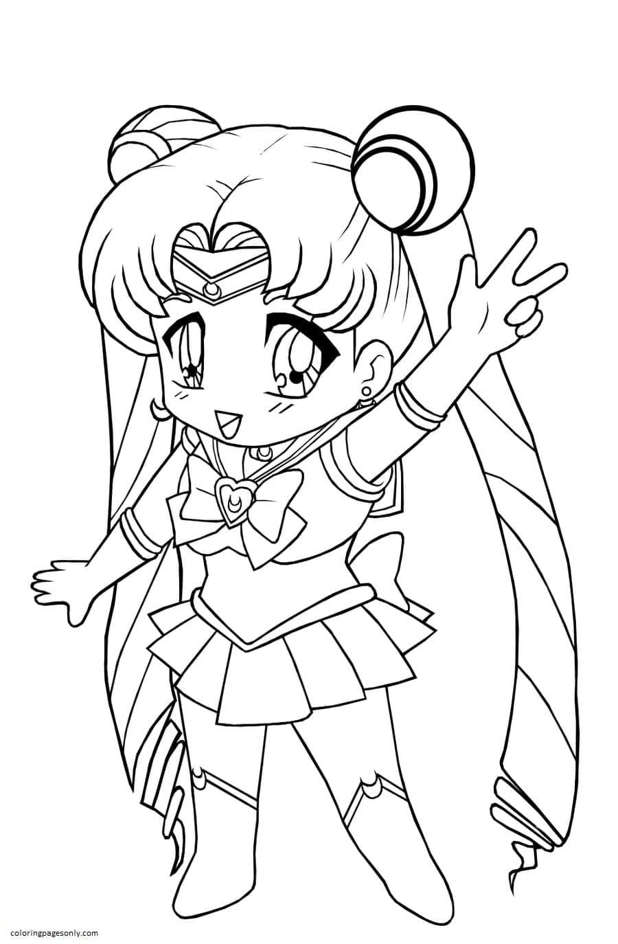 Chibi Sailor Cosmos Coloring Page