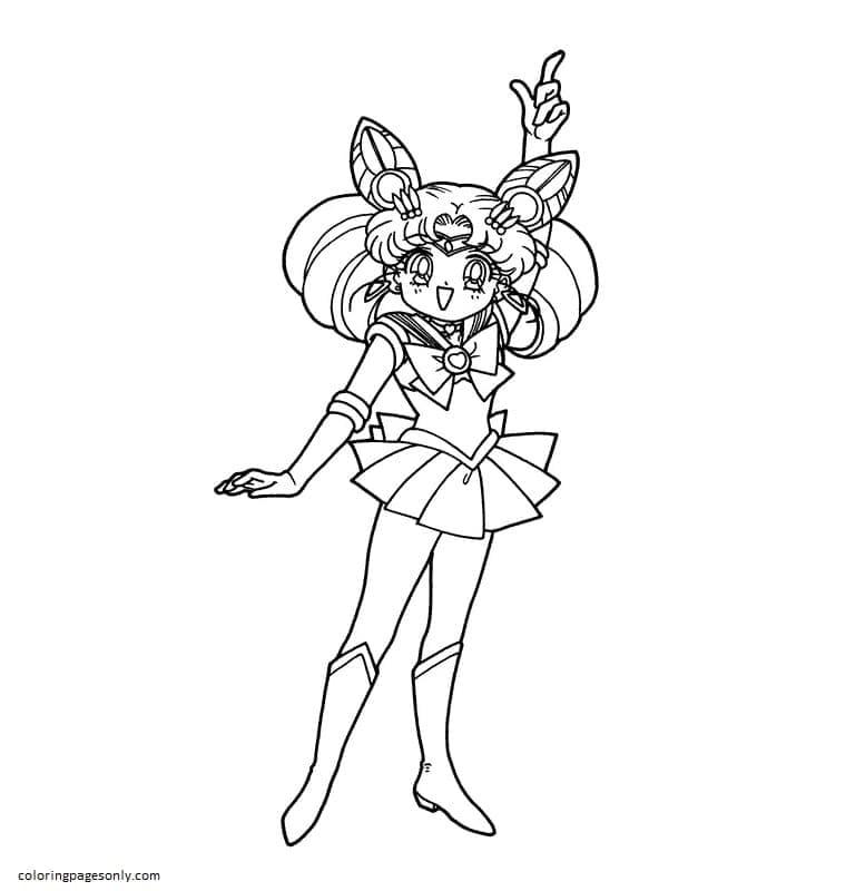 Chibi Sailor Moon 3 Coloring Page