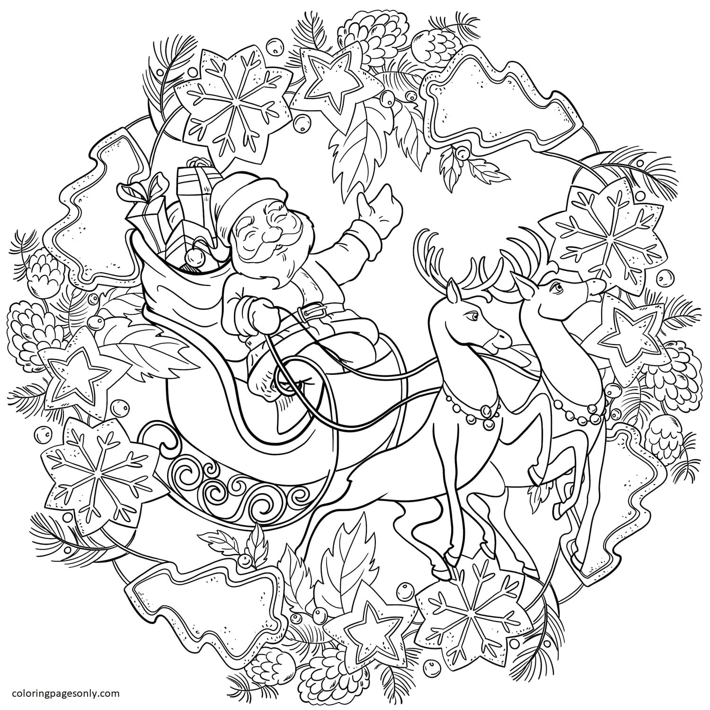 Christmas Mandala with Santa, Sleigh and Deers Coloring Page