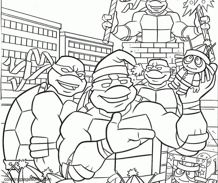 Christmas Mutant Ninja Turtle Coloring Page