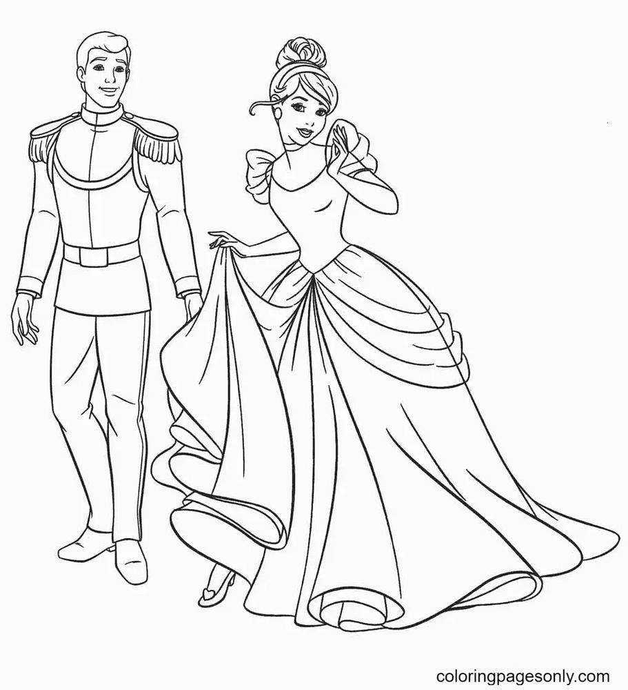 Cinderella And Prince Happy Coloring Page