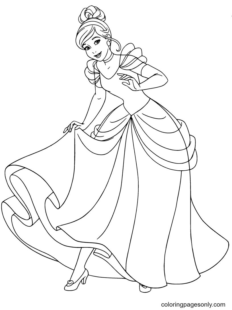 Cinderella From Cartoons Disney Coloring Page