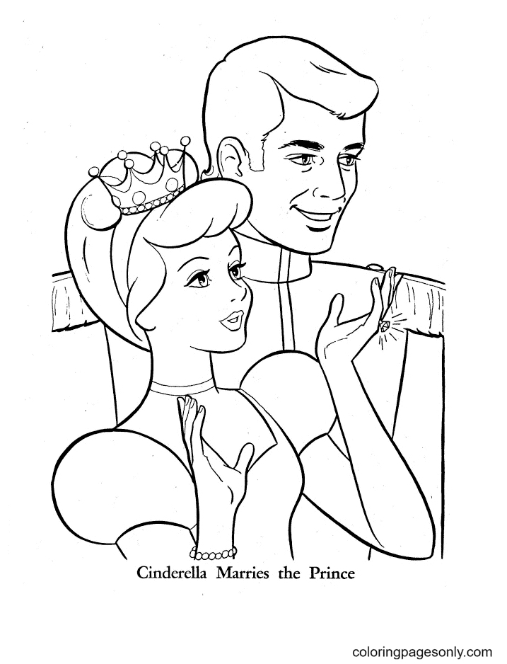Cinderella Marries the prince Coloring Page
