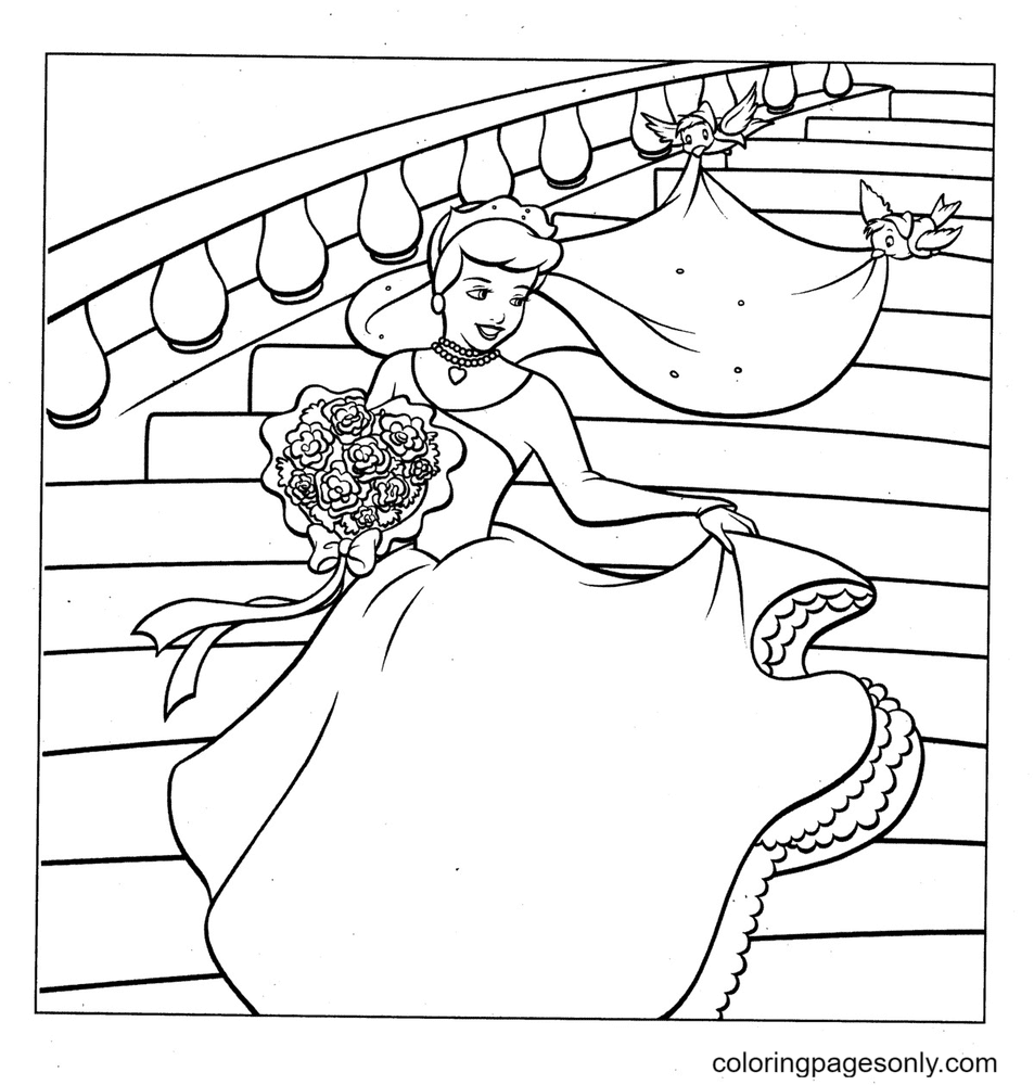 Cinderella Wedding Coloring Page