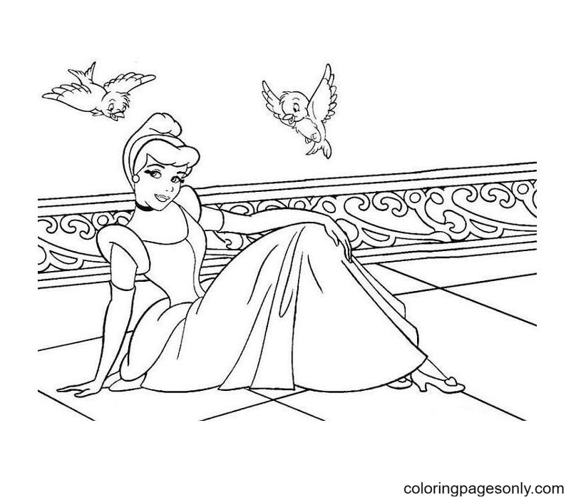 Cinderella and birds Coloring Page